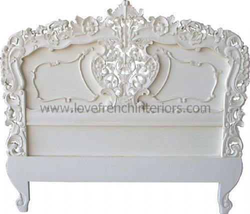 Rococo Ornately Carved Headboard in Antique White
